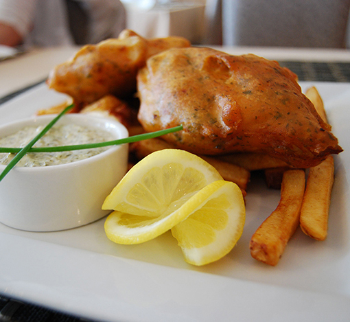 Fish and Chips at Georgie's Restaurant at the Anchor Inn Hotel,Twillingate