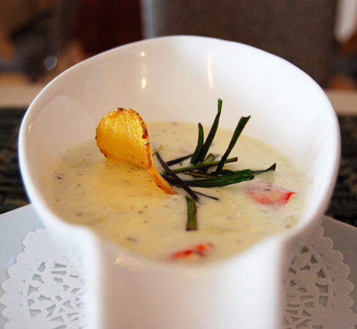 Seafood chowder at Georgie's Restaurant at the Anchor Inn Hotel, Twillingate